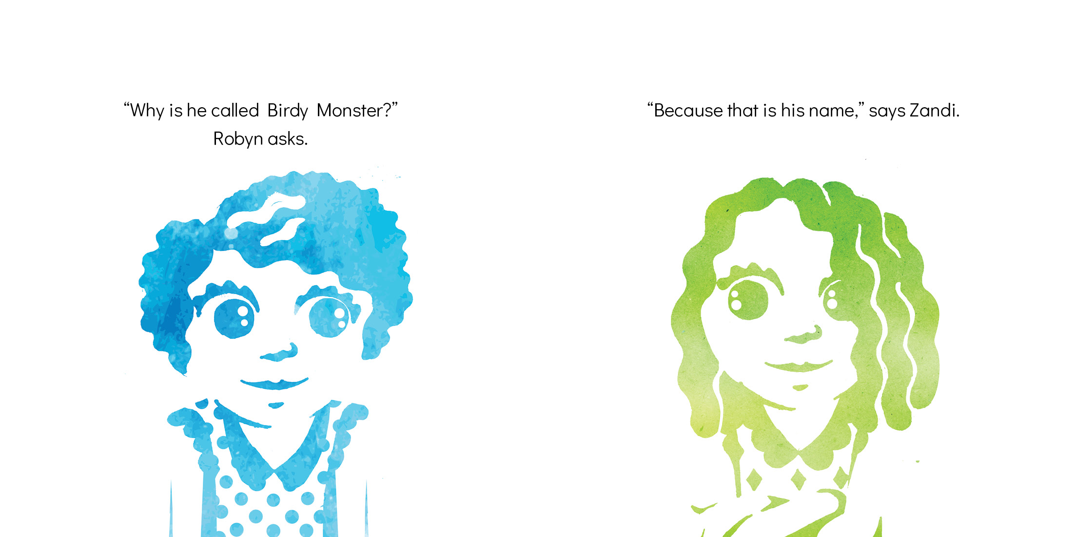 Zandi and Birdy Monster by Marie-Louise Rouget, Hannes
